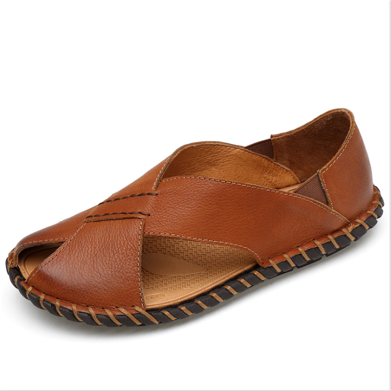 Men  Leather Sandals Vintage Set Foot Fashion Sandals