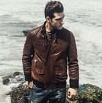 Genuine Leather Thicken Warm Slim Fit Stand Collar Jackets
