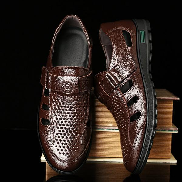 Men Genuine Leather Breathable Hollow Soft Shoes