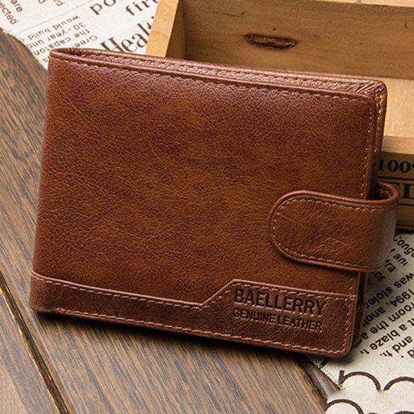 Men's Genuine Leather Short Multi-card Slots Casual Hasp Wallet