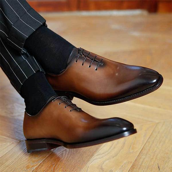 2018 New Genuine Leather Men Business Dress Shoes