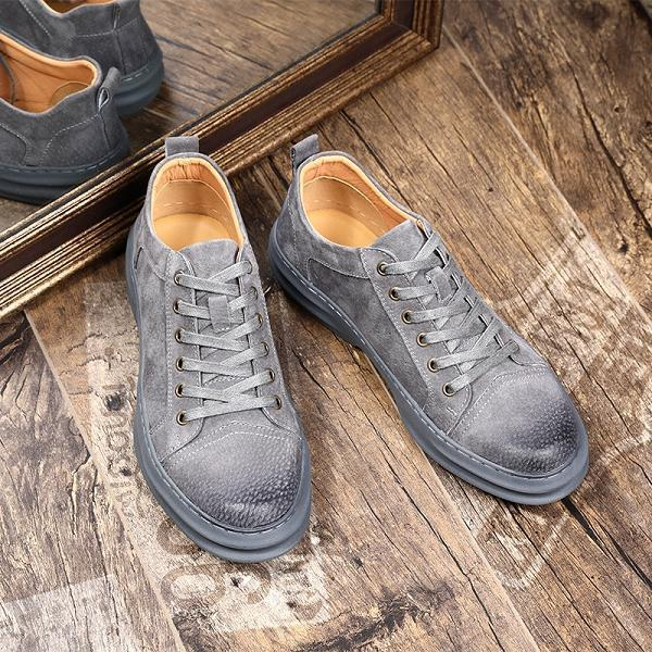 Men Genuine Leather British Style Lace Up Casual Shoes
