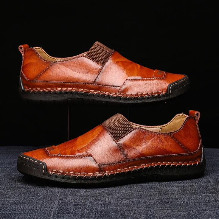 Men Hand Stitching Leather Slip Resistant Soft Sole Casual Lazy Shoes