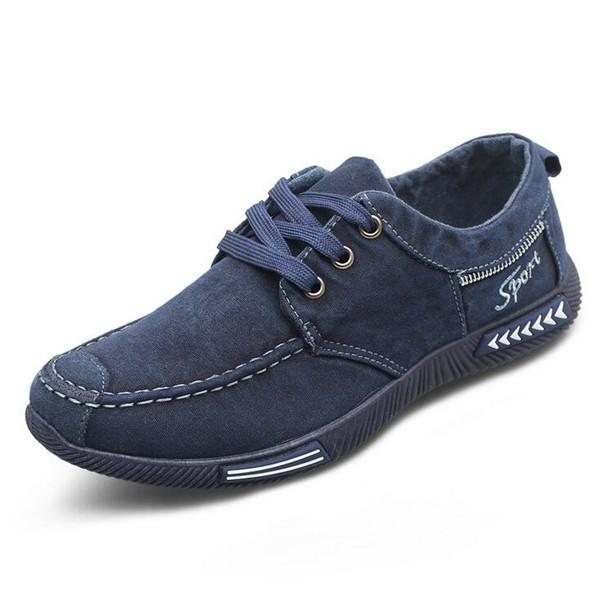 Men Shoes Denim Lace-Up Breathable Men Casual Shoes