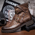 Men Vintage Genuine Leather Buckle Cowboy Ankle Boots