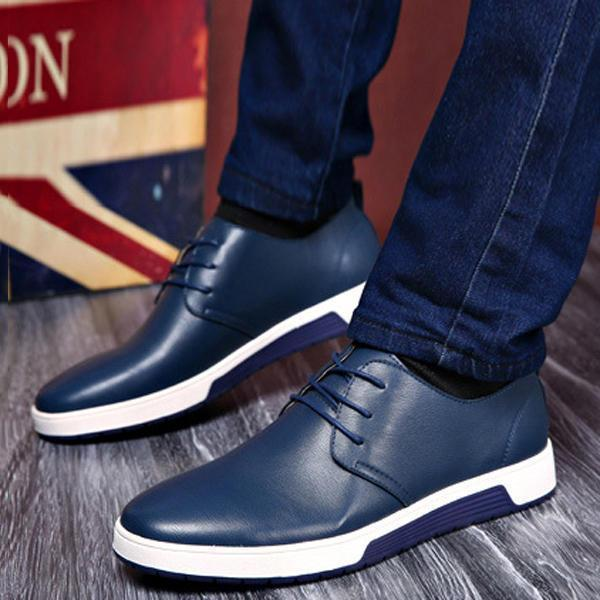 Men Leather Casual Lace Up Soft Round Toe Flat Oxfords