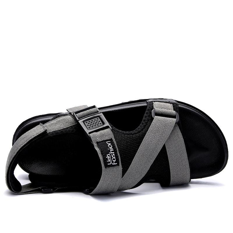 Large Size Men Canvas Hook Loop Opend Toe Comfortable Casual Sandals