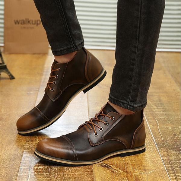 Large Size Men Vintage Genuine Leather Boots