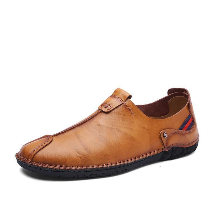 Men Genuine Leather Hand Stitching Soft Sole Casual Shoes