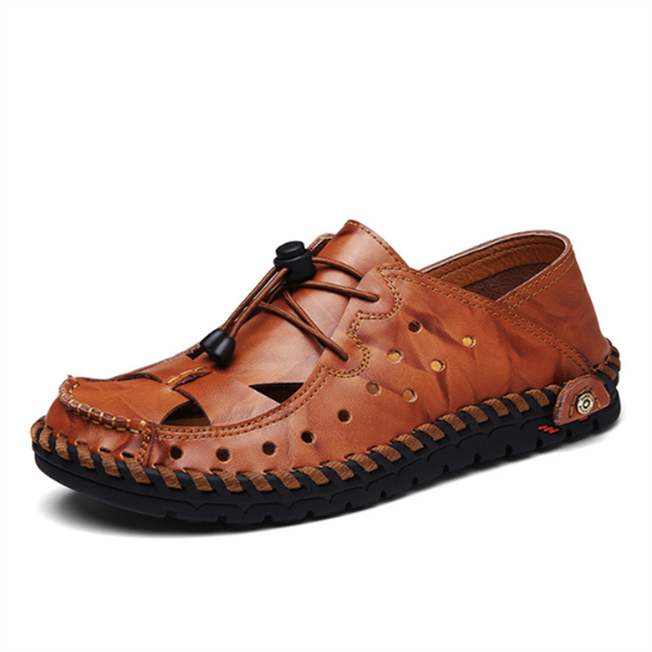 Men Hollow Breathable Hand Stitching Elastic Adjustable Lace Up Leather Sandals