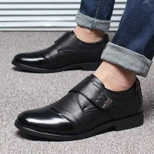 Men Classic Color Blocking Hook-Loop Business Casual Leather Shoes