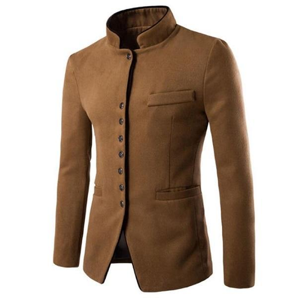 Men Wool Single-breasted Stand Collar Casual Jacket