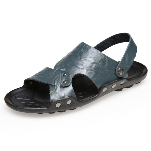 Large Size Men Open Toe Water Friendly Leather Sandals