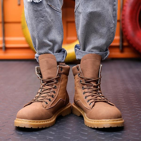 Men Fabric Leather British Style Casual Boots
