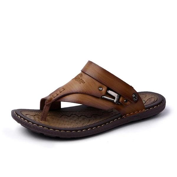Men Clip Toe Slippers Comfortable Flat Slip On Casual Beach Sandals