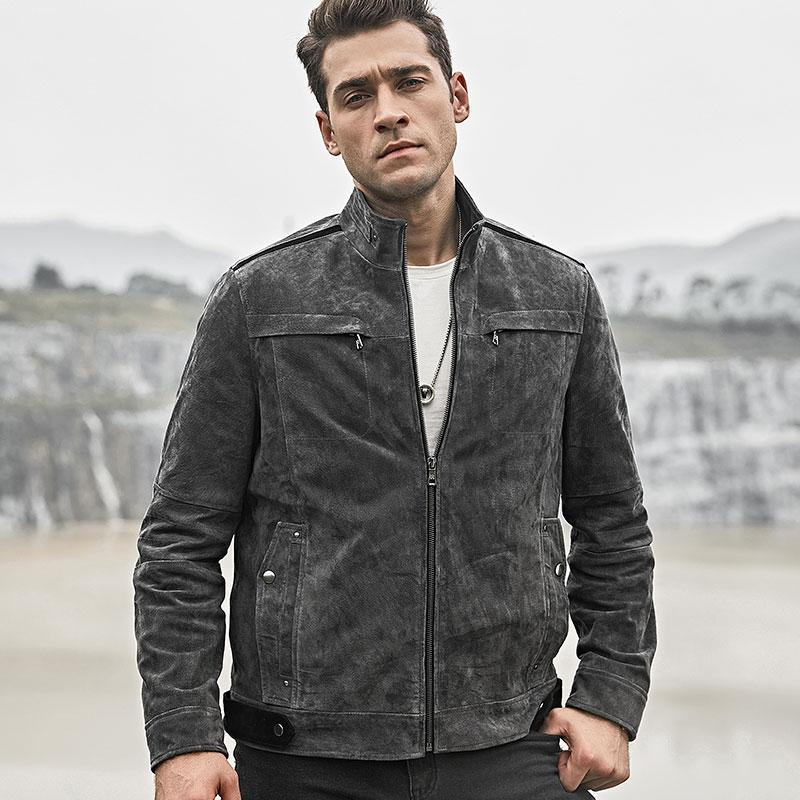 Genuine Leather Casual Stand Collar Short Coat