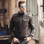 Genuine Leather Vintage Casual Short Jacket