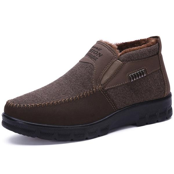 Large Size Men Old Peking Style Plush Lining Casual Anke Boots
