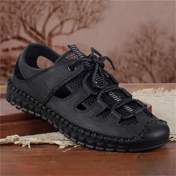 Men Hand Stitching Breathable Mesh Lace Up Casual Sandals
