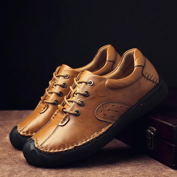 Men Soft Hand Stitching Anti Collision Toe Genuine Leather Comfy Oxfords Shoes
