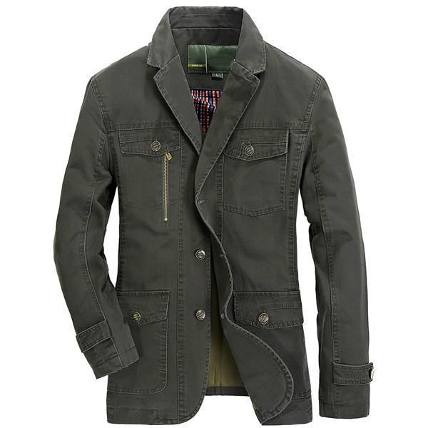 Men Single-breasted Cotton Casual Jacket