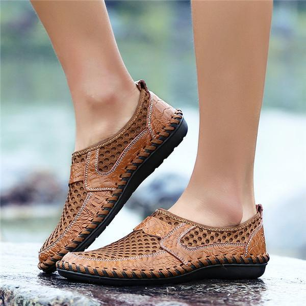 Men Breathable Stitching Honeycomb Mesh Soft Outdoor Casual Shoes