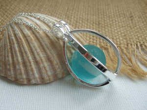 turquoise sea glass marble in locket