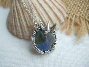 nest pendant with sea glass