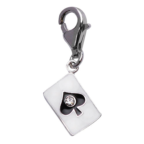 Sterling and Enamel Ace Card Charm with Crystal Gemstone - SilverAndGold.com Silver And Gold