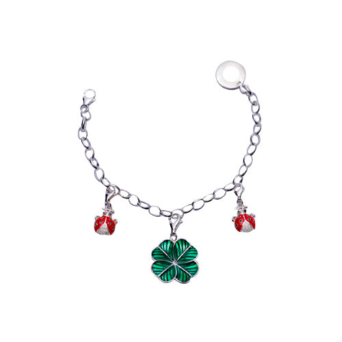 Sterling Silver Charm Bracelet: Silver Ladybugs and Four Leaf Clover - SilverAndGold.com Silver And Gold