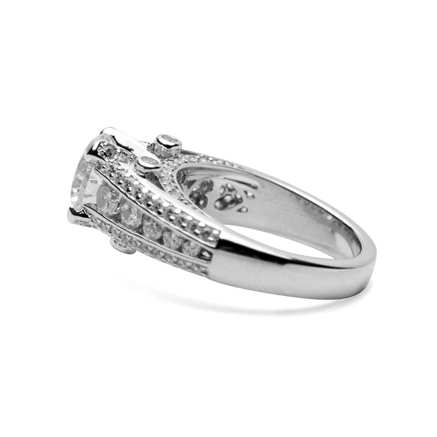 Sterling Silver Round Cut Clear Cubic Zirconia Engagement Ring