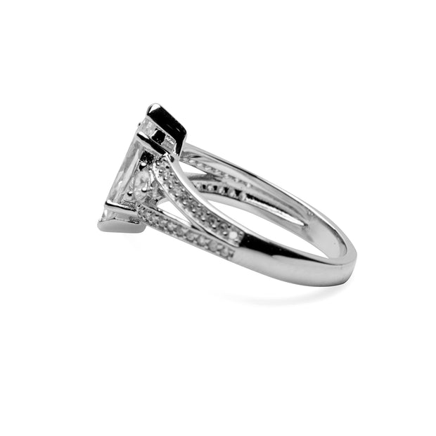 Sterling Silver Marquise Cut Clear Cubic Zirconia Ring