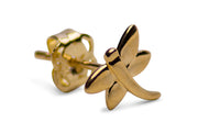 14K Yellow Gold Small Simple Dragonfly Stud Earrings