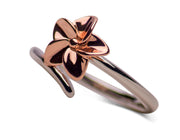 14K Rose Gold Plated Sterling Silver Two-Tone Plumeria Flower Ring