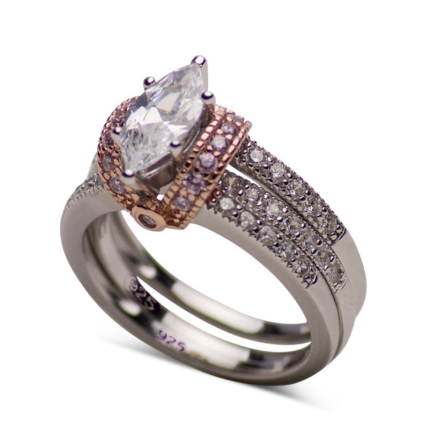 Wedding Set 14K Rose Gold Plated Sterling Silver Two-Tone 0.95 Carat Marquise & Round Cut Clear & Pink Cubic Zirconia Ring