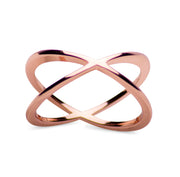 14K Rose Gold Plated Forever Sterling Silver Crisscross Crossover Ring