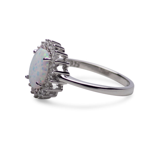 Oval Lab Created White Opal Ring with CZ Accents in Sterling Silver