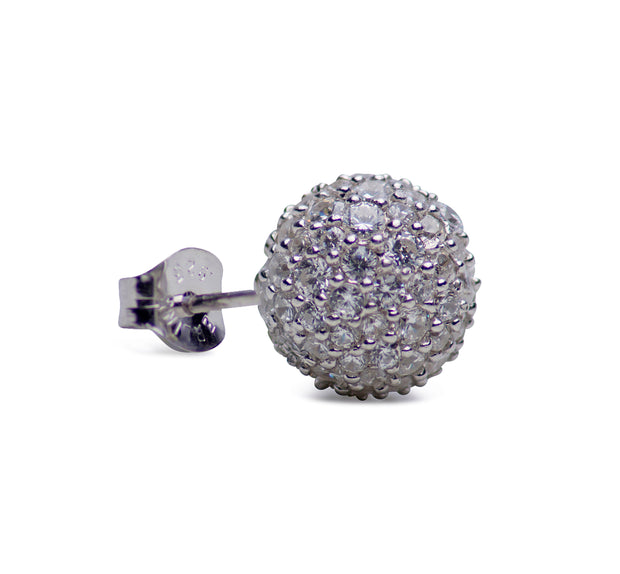 Cubic Zirconia Sparkle Stud Rhodium Plated Sterling Silver Earrings