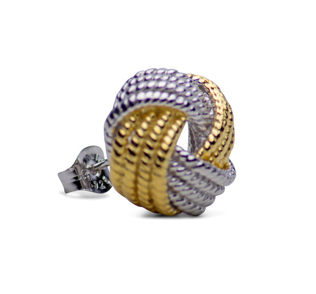 Two-Tone Woven Love Knot 14K Gold & Rhodium Plated Silver Earrings