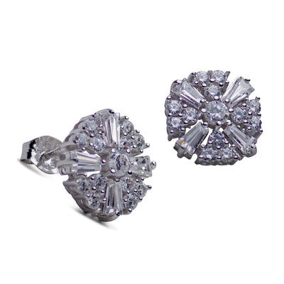 Cubic Zirconia Sunburst Sterling Silver Earrings