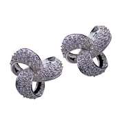 Cubic Zirconia Large Trinity Knot Rhodium Plated Sterling Silver Earrings