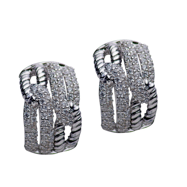 Cubic Zirconia Intertwined Rhodium Plated Sterling Silver Earrings