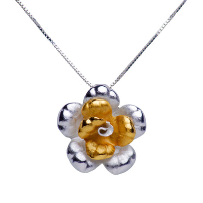 Blooming Floral Pendant Matte Finish 18K Gold Plated Sterling Silver