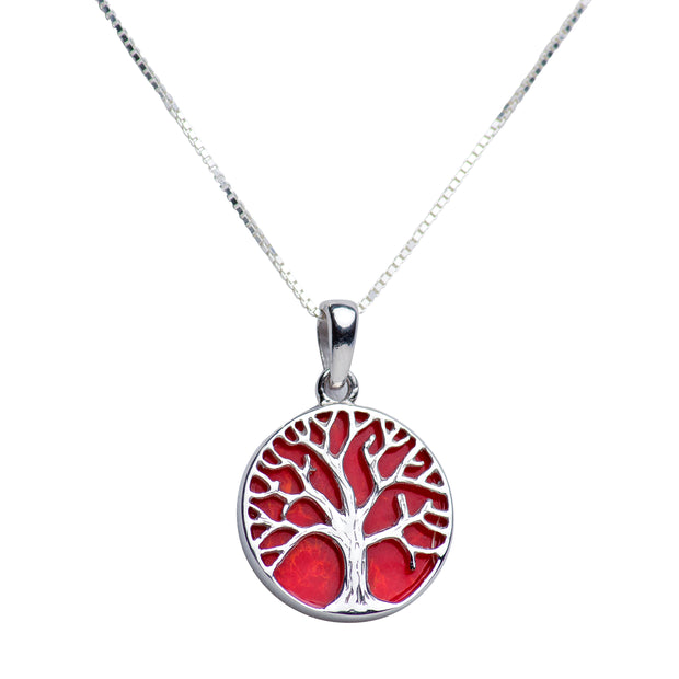 Created Red Coral Accented Silver Tree of Life Pendant Necklace