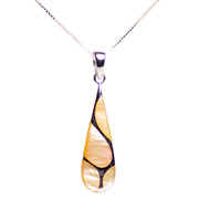 Gold Mother of Pearl & Rhodium Plated Sterling Silver Pendant