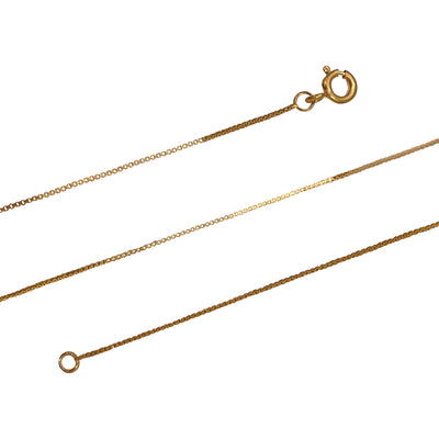 14K Yellow Gold Plated Sterling Silver 0.8 mm Box Chain