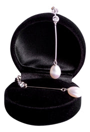 9 mm Brilliant White South Seas Drop Cultured Pearl Crystal Accented Drop Earrings in Sterling Silver