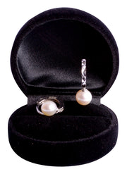 8 mm Brilliant White South Seas White Cultured Pearl Dangling Earrings in Sterling Silver