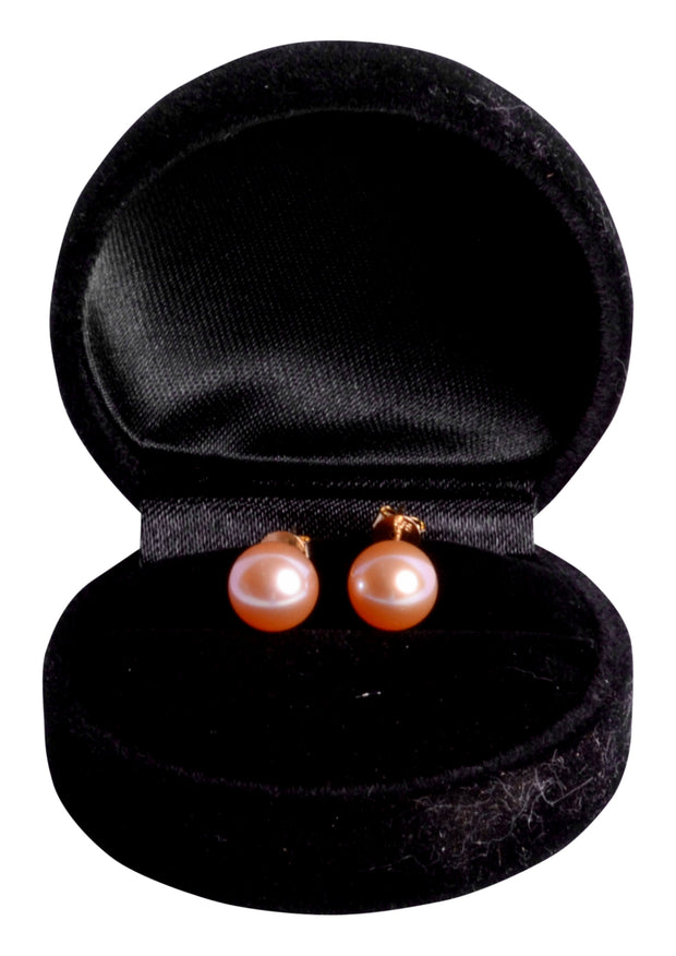 9 mm Lustrous South Seas Soft Pink 9 mm Cultured Pearl Earrings in 14K Yellow Gold