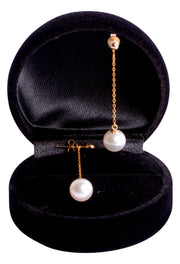 8 mm Brilliant White Japanese Akoya Cultured Pearl Drop Earrings in 18K Yellow Gold